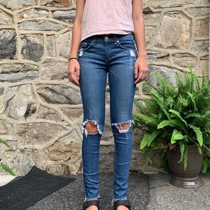 Rag and Bone ripped skinny jeans, low rise